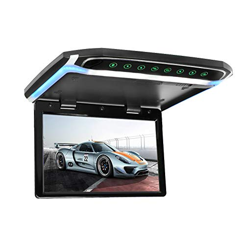 CarThree 12.1 Inch Flip Down Monitor with HDMI SD FM LED Car DVD Player Support 1080P Video Ultra Thin Overhead Video Player Compatible MP4 MP3 AVI DAT MPEG1 MPEG2 XVID DIVX (Black)