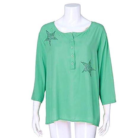 Soupliebe Camisa de Manga Corta de Botón de Mujeres de Cinco Puntas Estrella Caliente Taladro Tops Blusa Camisas Mujer Verano Elegantes Estampado de Moda Casual para Mujer Fiesta Playa: Amazon.es: Ropa y