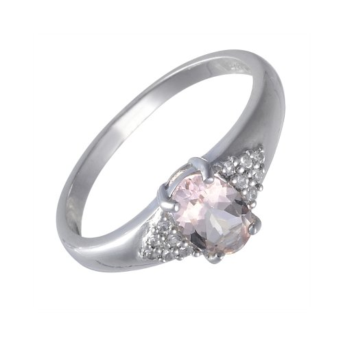 Ivy Gems Sterling Silver Morganite and Clear Topaz Solitaire Ring Size P