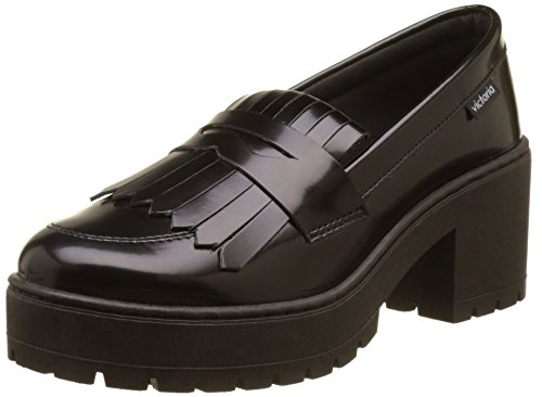 Victoria Women's Mocasin Florentic Pu Flecos Loafers Black (Black ) afsyH