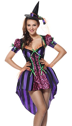 Lusiya Women's Naughty and Kindhearted Witch Halloween Plus Size Costume Purple Large/X-Large -