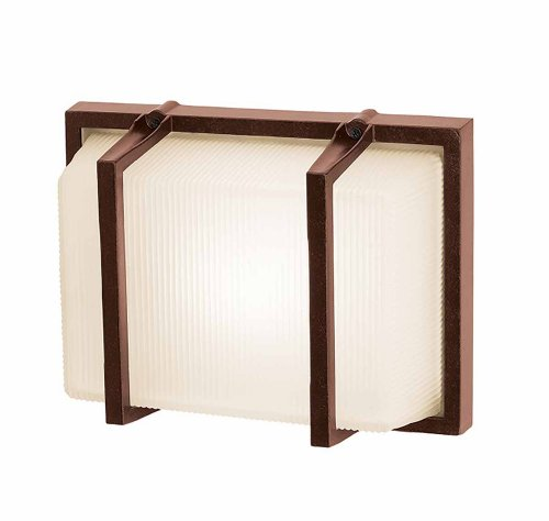 Neptune - Wet Location Wall Fixture - Bronze Finish - Ribbed Frosted Glass Shade