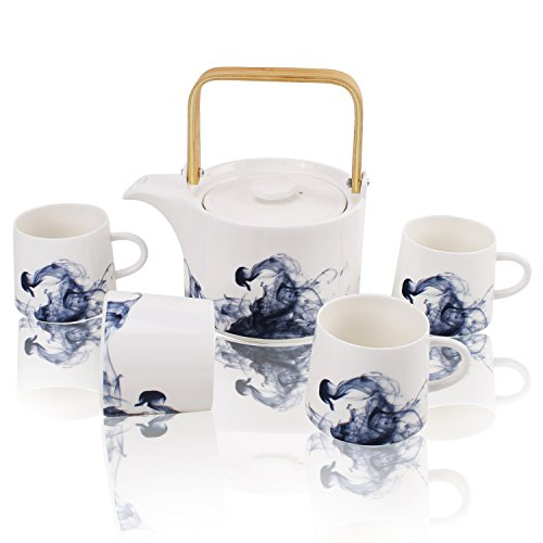 lain Tea Set Coffee Service with Wooden Handle and Infuser, Teapot and 4 Cups Set Serves for 4, Wedding Christmas Gift ()