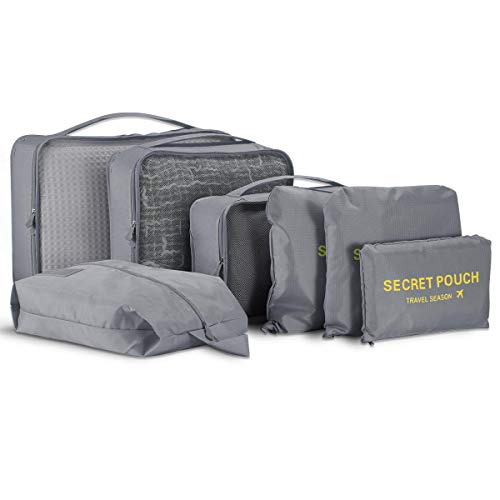 7 Set Packing Cubes - WantGor Travel Luggage Organizer Storage Bags Compression Pouches (7Set Big Grey)