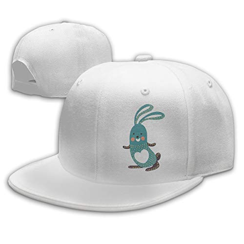 Sakanpo Cartoon Rabbit Flat Visor Baseball Cap, Fashion Snapback Hat White -