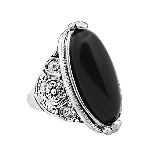 Aland Women Boho Vintage Oval Turquoise Antique Silver Plated Carving Ring Jewelry Black 19mm ()