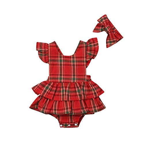 Newborn Baby Girl Summer Outfit Plaid Backless Ruffle