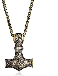 Nordic Viking Thor's Hammer with God's Horn Necklace Jewelry Talisman Mjolnir Necklace