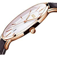 Ultra Thin Watches for Men,Mens Simple Brown Leather Watch,Men's Business Quartz Watch Leather Band 30m Waterproof Wrist Watches,Rose Gold Watches Men,Automatic Calendar Watch with White Dial