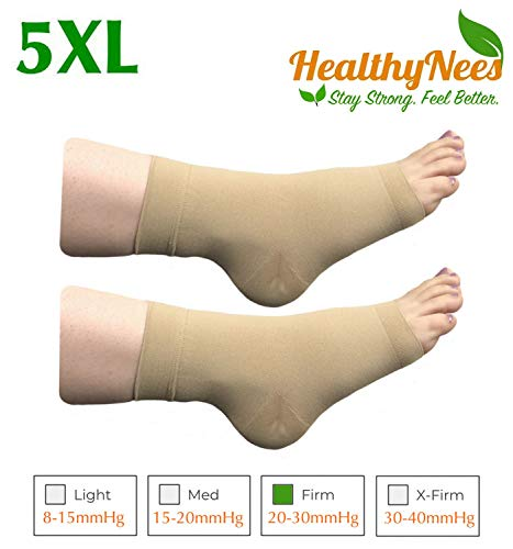 HealthyNees Extra Wide Ankle Big Feet 20-30 mmHg Compression Swelling Foot Pain Circulation Plus Size Sock Open Toe Sleeve (Beige, Extra Wide Ankle 5XL)