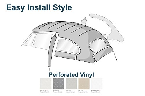 Perforated Headliner - VW Easy Install Headliner, Grey Perforated Vinyl, Beetle and Super Beetle Sedan 1968-1977