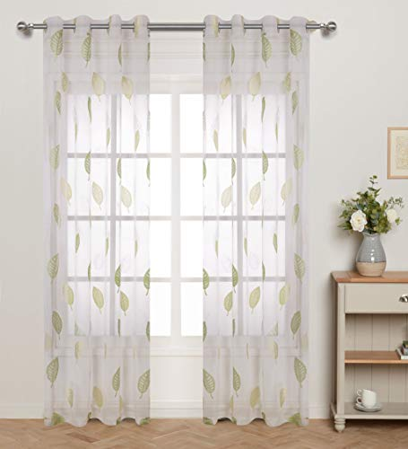 - Green Leaf Pattern Burnout Sheer Curtains for Bedroom White Transparent Voile with Full Lovely Cute Leaves Thin and Soft Hot Spring Theme Eyelet/Rings Top 54 inch Wide by 63 inch Long 1 Pair