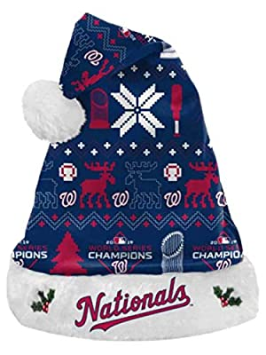 Forever Collectibles Washington Nationals 2019 World Series Champions Team Colors Christmas Santa Hat