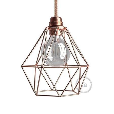 creative cables Jaula lámpara Desnuda Diamond Metal Acabados Cobre ...