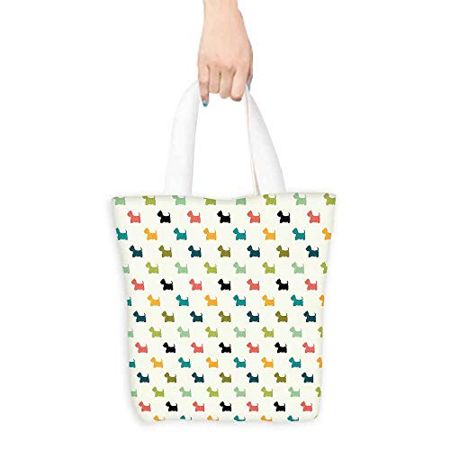 Cosmetic bag,Dog Lover Colorful Scottish Terrier Silhouettes Polka Dot Backdrop Purebred Animal Pattern,Organic Cotton Washable & Eco-friendly Bags,16.5