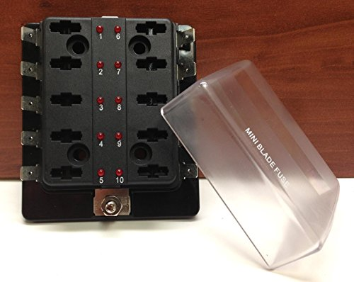 MINI BLADE FUSE BLOCK HOLDER LED INDICATOR MARINE BOAT 10 GANG US PATENT 6775148 ()