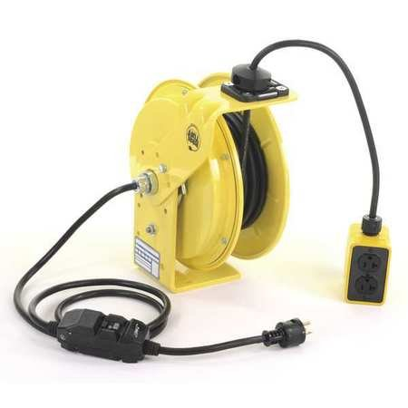 KH Industries RTB Series ReelTuff Industrial Grade Retractable Power Cord Reel with Black Cable, 12/3 SJOW Cable Prewired with GFCI Protected Two Receptacle Outlet Box, 20 Amp, 25' Length, Yellow Powder Coat Finish