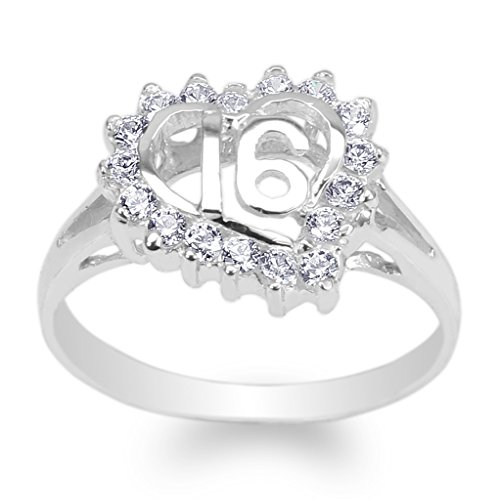 JamesJenny Womens 925 Sterling Silver Round CZ Sweet 16 Heart Ring Size 7