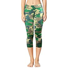 Baleaf Women's Tummy Control Workout Printed Yoga Capri Pants Hidden Pocket