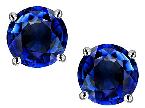 Star K Classic Round 7mm Created Sapphire Four Prong Stud Earrings 10 kt White Gold