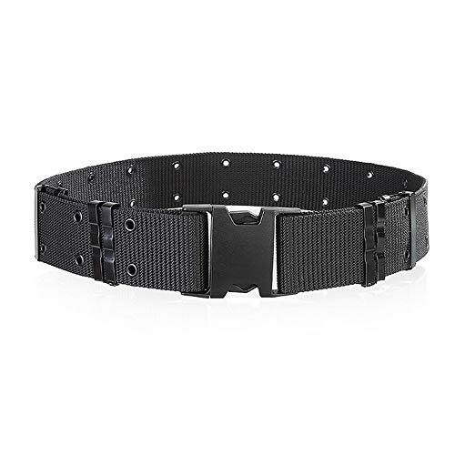 Woven Prong - Men's Military Waist Belt,Sports Tactical Nylon Waistband Canvas Web Belt Multiple holes - Double Prong Buckle (Black)