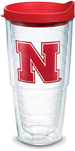 Tervis 1084206 Nebraska Cornhuskers Logo Tumbler with Emblem and Red Lid 24oz, Clear ()