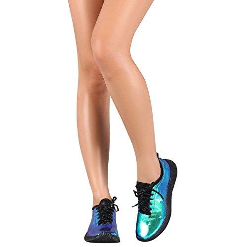 Per Sempre Punta Rotonda Donna Allacciata Per Allenamento Fitness Olografico In Esecuzione Scarpe Da Ginnastica Moda Blu