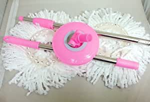 360 Rotating Magic Mop - Replacement Handle and 2 Mop Heads - Pink
