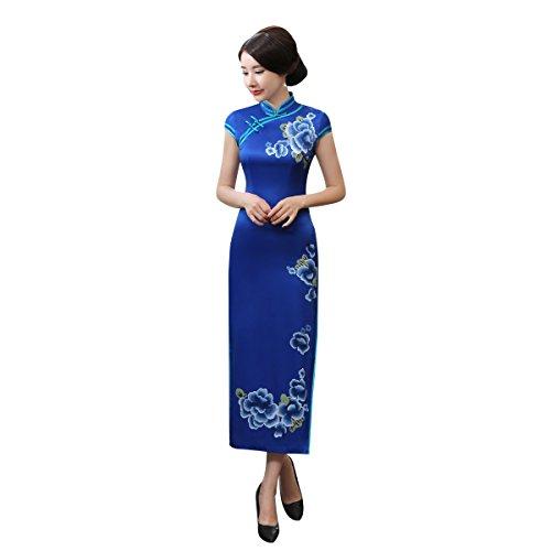 Blumen Blau Vintage Drucken Wickelkleid Bankettkleid ACVIP Damen Lang Cheongsam 8IxwnHa4q