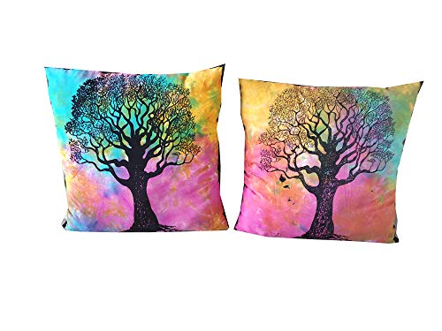ICC Tree Of life Mandala Cushion Cover Set Pack of 2 Decorative Square Pillowcase Throw Pillow Covers Cases Sofa Bedroom Car 18 x 18 Inches 45 x 45 cms Bed Decor Outdoor Case Living Room Handmade
