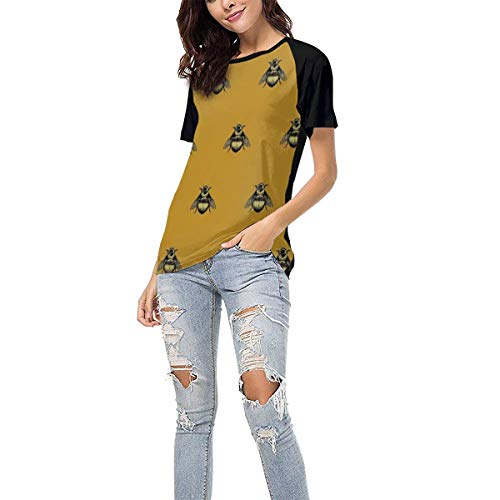 (Laki-co Women's Summer Short Sleeve - Bumblebee Pattern Casual Raglan Tee Baseball Tshirts Tops Blouse XL)