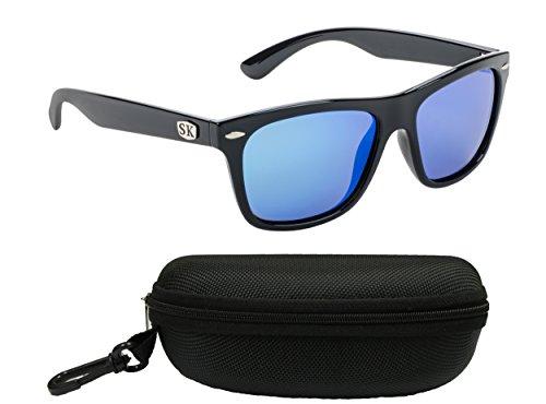 Strike King Plus SG-SKP413-CS Cash Polarized Sunglasses Bundle, Shiny Black Frame with Multi Layer Blue Mirror Gray Base Lens, with Black - Sunglasses Sg