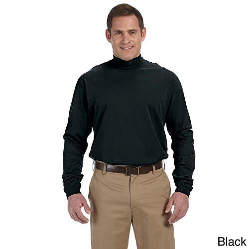 (Devon & Jones Men's Sueded Cotton Jersey Mock Turtleneck Black XS)