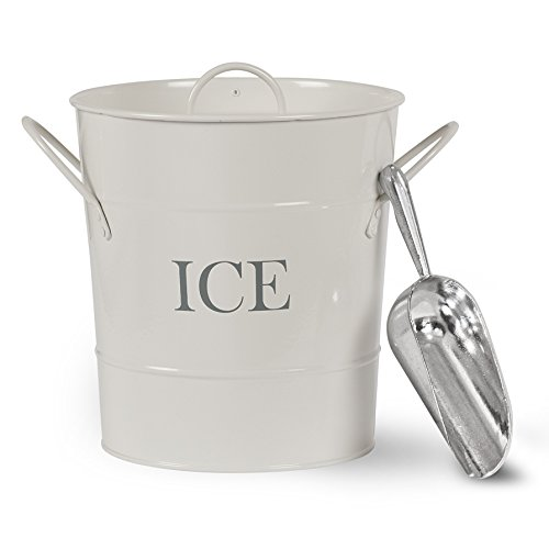 Ice Bucket With Scoop Holder And Carry Handles| Indoor Or Outdoor Entertaining Retro Chic, Vintage Charm Chalk White Coloured Powder Coated Steel ()