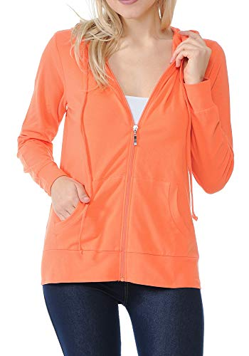 ClothingAve. Women's Basic Lightweight Cotton Blend Long Sleeve Zip Up Hoodie Jacket, Coral, Medium