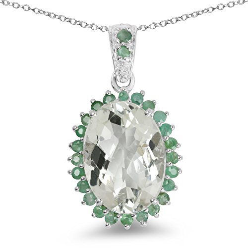 Johareez 5.74 cts Green Amethyst Emerald .925 Sterling Silver Rhodium Plated Pendant for Women