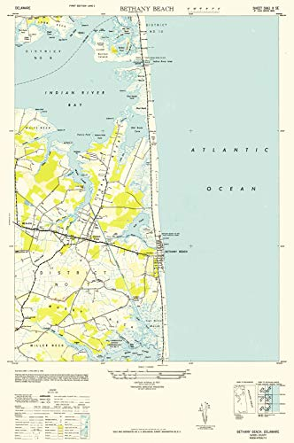 Historical Map Reproductions (Delaware Maps | 1943 Bethany Beach, DE USGS Historical Topographic Map |Fine Art Cartography Reproduction Print)