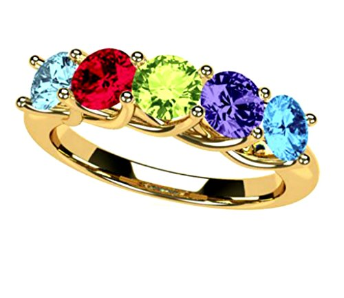 NANA Lucita Mothers Ring 1 to 6 Stones in 10k Yellow- Size 8