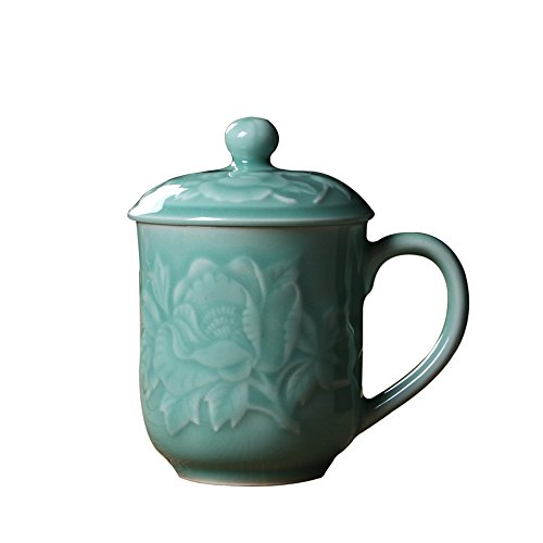 Teacups 13oz Coffee Mugs with Lid Porcelain Cups Embossed with Peony Chinese Celadon(01-Sky Blue) ()