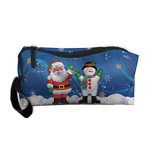 Jessent Coin Pouch Snowman Santa And Kid Christmas Pen Holder Clutch Wristlet Wallets Purse Portable Storage Case Cosmetic Bags Zipper
