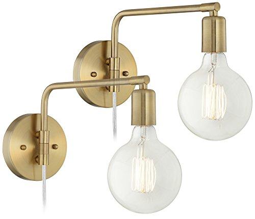 - Amara Antique Brass Wall Lamp Set of 2