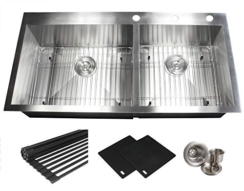 43 INCH (6040) Zero Radius Design 16 Gauge Topmount Drop In Over the Counter Large Double Bowl 5050 Stainless Steel Kitchen Sink Premium Package 43 INCH (6040) KKR-FT4321-6040 ()