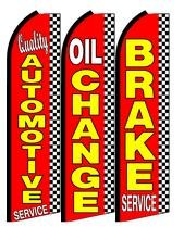 (Quality Automotive Service, Oil Change, Brake Service King Swooper Feather Flag Sign- Pack of 3 (Hardware Not Included) )