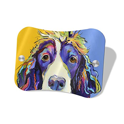 Springer Spaniel Colorful Paintings Welcome Sign UV Protected Personalized Door Decor for Front Door Farmhouse Bedroom in Pillow Shape