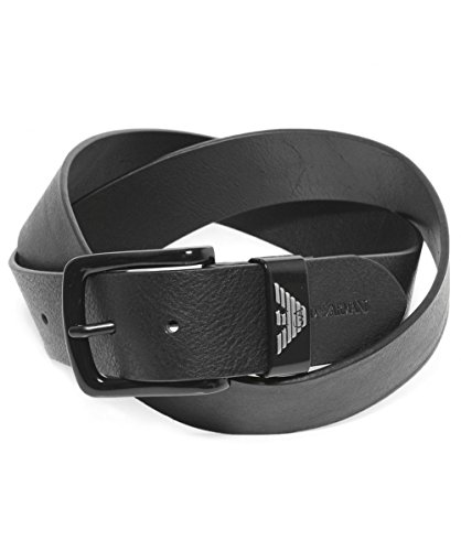 Emporio Armani Men's Leather Tongue Belt Black ()