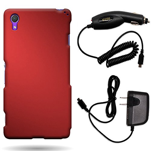 Power Sirius Pack (CoverON Sony Xperia Z2 Hard Rubberized Slim Case Bundle with Black Micro USB Home Charger & Car Charger - Red)
