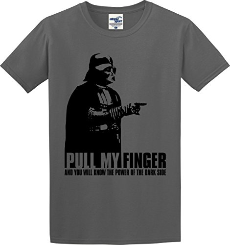 Utopia Sport Darth Vader T-Shirt Pull My Finger and You Will Know The Power Of The Dark Side (S-5X) (X-Large, Charcoal)