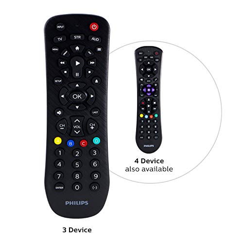 Philips Universal Remote Control for Samsung, Vizio, LG, Sony, Sharp, Roku, Apple TV, RCA, Panasonic, Smart TVs, Streaming Players, Blu-ray, DVD, Simple Setup, 3-Device, Black, SRP9232D/27 (Remote Philips)
