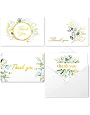 100 Bulk Thank You Cards with Envelopes White and Greenery Gold Foil – Floral watercolor Cards Thank You Notes with Envelopes and Eucalyptus leaves for Wedding Bridal Baby Shower Graduation Funeral