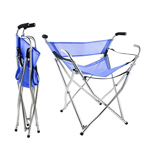 Freshore Canes and Walking Sticks Seat Collapsible 300lbs - Sport Seat Cane 4 Stool Walker for Camping Baston Con Asiento (XL Size Blue)